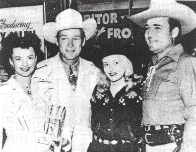 Dale Evans and Roy Rogers, along with Monogram co-stars Reno Browne and Whip Wilson, get together for a '50s Hollywood event.