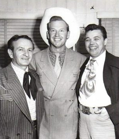 "Rex Allen with friends Nudie (L) and Wade Ray whom Rex called ""The best fiddler I ever heard."""