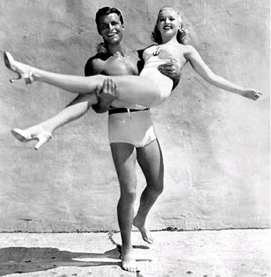 Buster Crabbe must surely have enjoyed this publicity shot with Betty Grable.