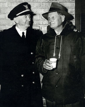 "Coast Guard Chief Walter Brennan and producer/director Joe Kane take a coffee break from filming ""Sea of Lost Ships"" ('53 Republic)."