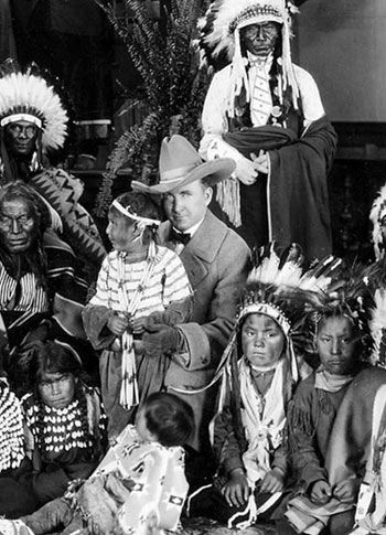 "Tim McCoy and a group of Indians. Probably taken during promotion for ""The Covered Wagon"" ('23). (See more in our Silent Westerns Reviews section.) (Photo courtesy Bobby Copeland.)"