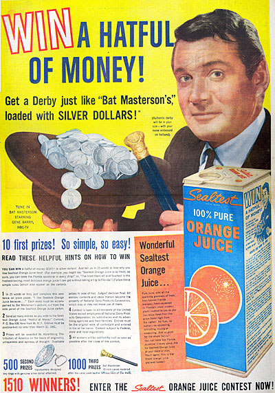 Wonder how many silver dollars Bat's hat held. This ad from 1/8/61.