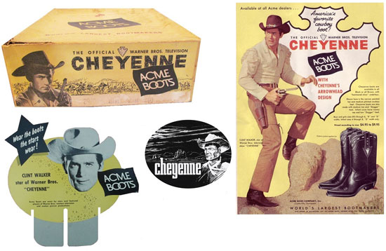 "Without a doubt the biggest TV Western star of them all, Clint ""Cheyenne"" Walker endorses Acme Boots in this montage. (Thanx to Lonnie Chapman.)"