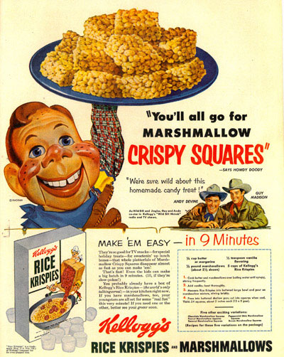 "Kelloggs sponsored ""Wild Bill Hickok"" on radio and TV. This ad with Howdy Doody  is from 1953."