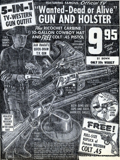 Steve McQueen's gun and holster set advertised here in December 1960 is one TV  Western collectible I've never seen for sale in later years.