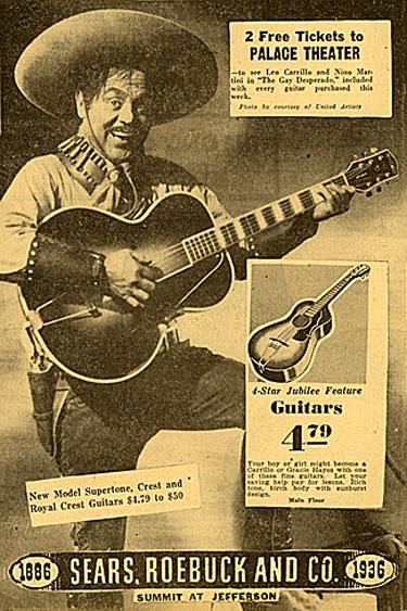 "The way the ad reads, ""photo courtesy of United Artists"", I wonder if Leo Carrillo even knew he was endorsing guitars for Sears, Roebuck and Co. This ad dated 12/2/36."