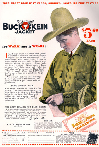 This Tom Mix endorsement for Buck Skein jackets is from September 1928.