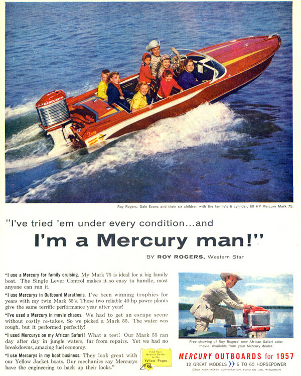 Roy takes Dale and their six kids for a ride in one of his Yellowjacket boats using a Mercury outboard motor in 1957.