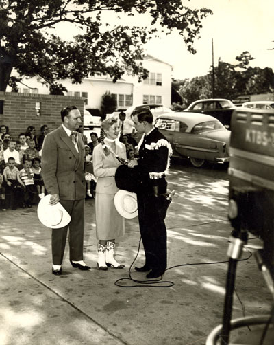 Gene, Gail Davis and Dick Jones before KTBS-TV cameras in Shreveport, Louisiana.