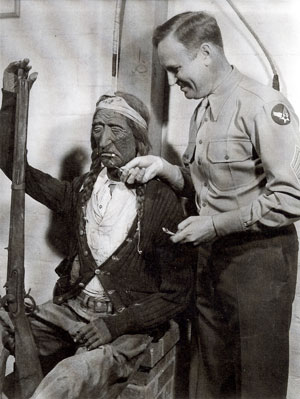 Tech Sgt. Gene Autry on leave at his weekend Melody Ranch in 1945. Gene's wooden Indian Joe sat on his front porch.