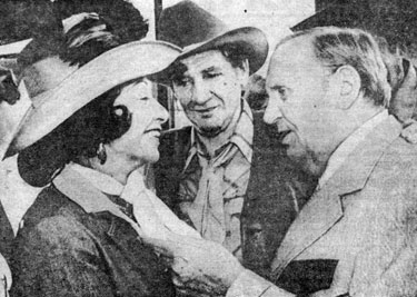 Vera Hruba Ralston talks with Gene and Pat Buttram as a Hollywood Western  tribute party in L.A. on July 20, 1981.