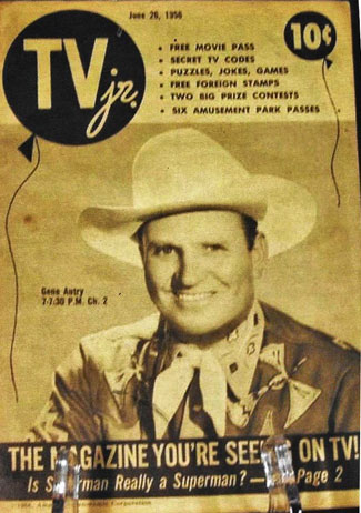 Gene graced the cover of the rare TV Jr. on June 29, 1956. TV GUIDE-like publication came from Schenectady, NY. (Thanx to Billy Holcomb.)