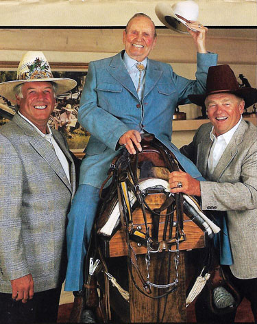 Gene's back in the saddle again in 1995 alongside former California Angels manager Buck Rodgers and former St. Louis Cardinals manager Whitey Herzog.  (Photo courtesy Billy Holcomb.)