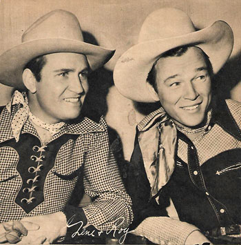 Republic's two top cowboy stars, Gene Autry and Roy Rogers, in March 1942.