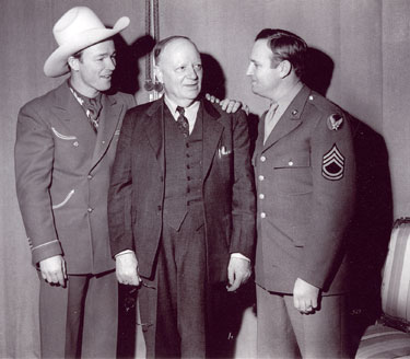 Roy Rogers and Tech Sgt. Autry with ??? Circa 1945.