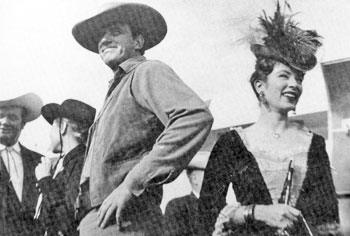 James Arness and Amanda Blake in Dodge City, Kansas in 1958.