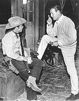 "Audie Murphy and Charles Drake during a break from filming ""Showdown""  ('60 Universal)."