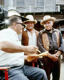 "Bill Witney directs an episode of ""Bonanza"" with Dan Blocker and Lorne Greene.  (Thanx to Jay Dee Witney.)"