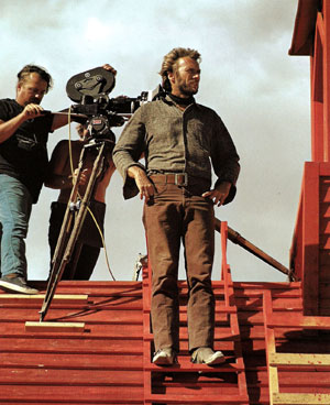 "Clint Eastwood sets up a scene for his ""High Plains Drifter""."