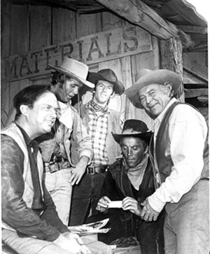 "Ralph Meeker (left) guested on ""High Chaparral: The Pride of Revenge"" ('67). (L-R) Meeker, Mark Slade, stuntman Neil Summers, Cameron Mitchell, Leif Erickson."