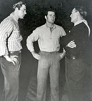 "Clint Walker joined James Garner and Randolph Scott for a chat while the latter two were filming ""Shootout at Medicine Bend"" ('57 WB). (Thanx to Neil Summers.)"