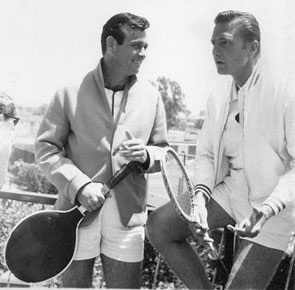 Court time at the Sahara for David Janssen and Eric Fleming. (Thanx to Terry Cutts.)