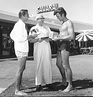 """Rawhide""'s Eric Fleming and Clint Eastwood are greeted for a tennis tournament at the Sahara casino in Las Vegas, NV. (Thanx to Terry Cutts.)"
