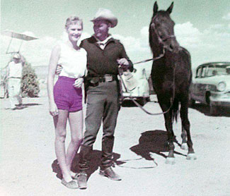 "John Pickard, star of ""Boots and Saddles"", with Judy Zomar while filming the TV series in Kanab, UT in 1957. Judy and her brother Joe were the children of special effects man Joseph A. Zomar (1920-1997). (Thanx to Joe Zomar.)"