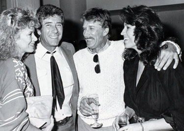 Jennifer Savidge, Robert Fuller, Alex Cord and Dawn Moore (Clayton's daughter)  share a laugh and a drink. (Thanx to Terry Cutts.)