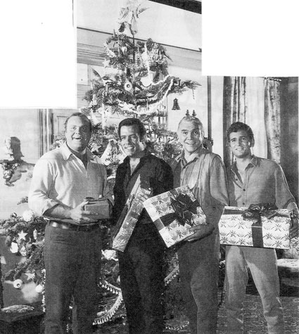 A Ponderosa Christmas! Dan Blocker, Pernell Roberts, Lorne Greene and Michael Landon.