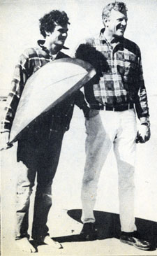 James Arness with son Rolf who is ready for some surfing.