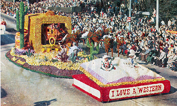 M E R R Y C H R I S T M A S !  Roy Rogers and Dale Evans Post Cereals 1956 Tournament of Roses float won the Governor's Trophy.