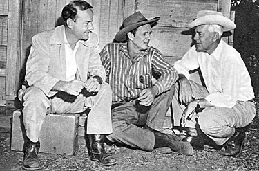 "On the set of ""Shotgun"" ('55 Allied Artists), (L-R) producer John Champion, Sterling Hayden and director Lesley Selander."