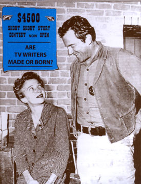 "Scriptwriter Kathleen Hite and James Arness on the set of ""Gunsmoke"". Hite wrote  many episodes."