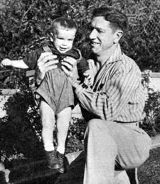 "Richard Boone with his son Peter in late 1955 while Boone was starring on ""Medic""."