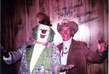 PRC's Singing Cowboy Eddie Dean with Happy the Clown (Dave Twomey).