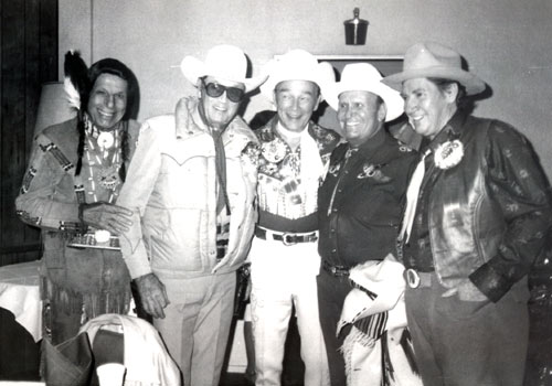 Iron Eyes Cody, Clayton Moore, Roy Rogers, Gene Autry, Pat Buttram at the 1981 Hollywood Christmas Parade on November 29.