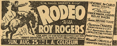 Newspaper ad from August 19, 1946, for the L. A. County Sheriff's Annual Rodeo.