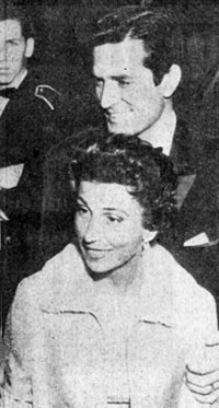 In December 1957 Hugh O'Brian escorted the former Mrs. Frank Sinatra (Nancy) to a Hollywood event. Nancy and Frank were married from '39 to '51. Looks like Frank Sinatra Jr. in the background.