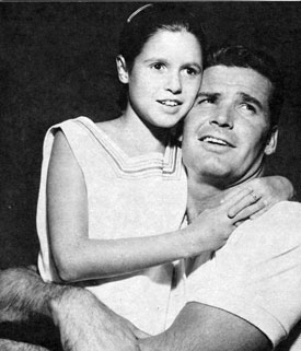 "James Garner and his adopted daughter Kimberly while filming  ""Up, Periscope"" in 1959."