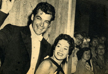 """The Texan"", Rory Calhoun and wife Lita Baron greet fans in 1956."