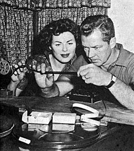 """Adventures of Kit Carson""—Bill Williams and wife/actress Barbara Hale enjoyed  the hobby of home movies."