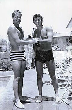 Poolside pals...Doug McClure and Michael Landon.
