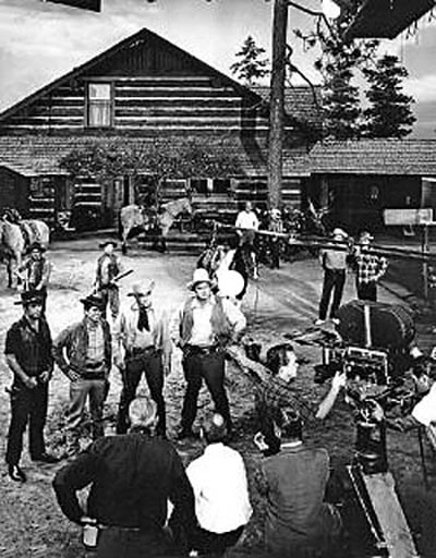 Setting up for a scene...Pernell Roberts, Michael Landon, Lorne Greene, Dan Blocker.