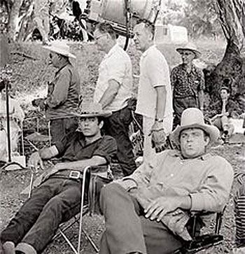 Waiting for the next shot...Pernell Roberts and Dan Blocker.