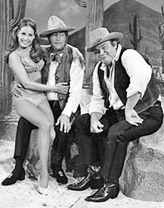 Dan Blocker has fun in a Western skit on the Dean Martin show.