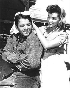 "Lisa Gaye dries Audie Murphy's hair following a scene in Universal's  ""Drums Across the River"" ('54)."