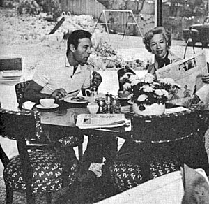 Breakfast with the Montgomerys, George and Dinah, in 1957.