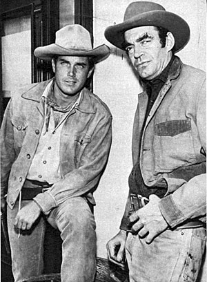 "Taking a break from shooting TV's ""Temple Houston"" are Jeffrey Hunter and Jack Elam."