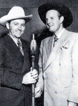 Foy Willing (of The Riders of the Purple Sage) shares a microphone with  Monogram star Jimmy Wakely.